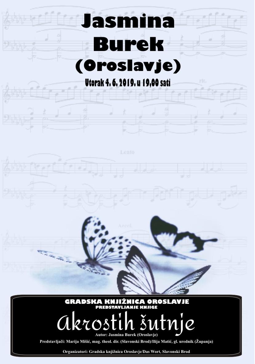 "Promocija pjesničke zbirke ""Akrostih šutnje"" – Jasmina Burek"