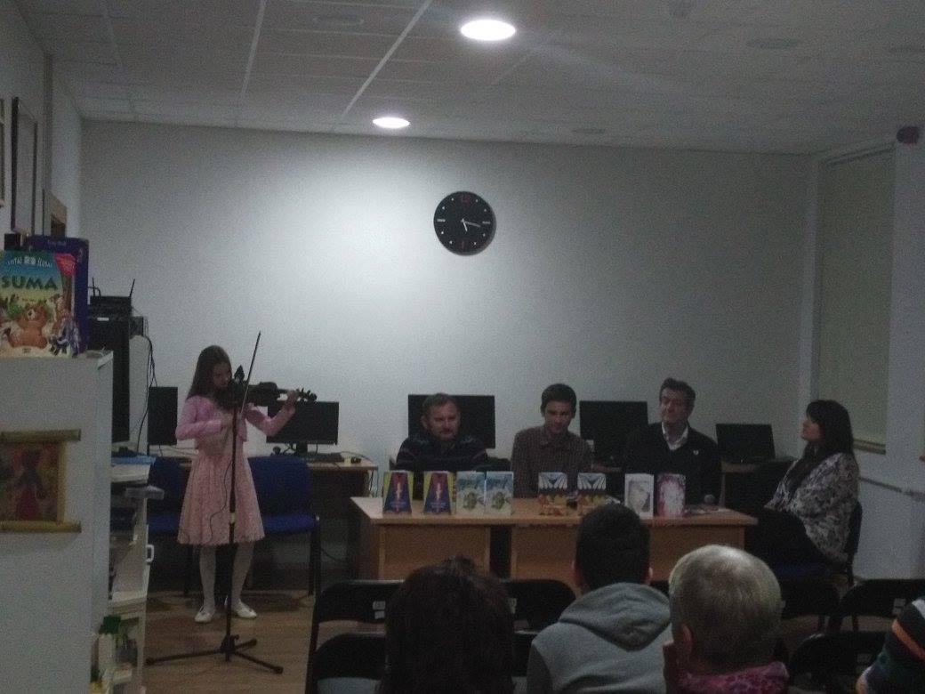 Književna večer u knjižnici i čitaonici Dvor; književnici Đorđe Lukač, Srećko Marčeta, Marija Mišić, Slobodan Repak, Ilija Matić